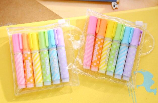 Прекрасный ярких цветов мини в горошек маркер ручка маркеры для чтения книги флуоресцентные чертежная ручка Офис Школьные принадлежности