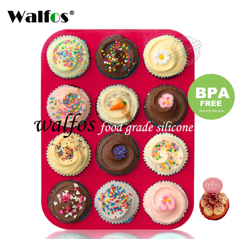 Walfos 100% food grade 12 Cup Siliconen Muffin pan & Cupcake Bakvorm Non-stick siliconen cakevorm ronde Mini Muffin Pan vorm