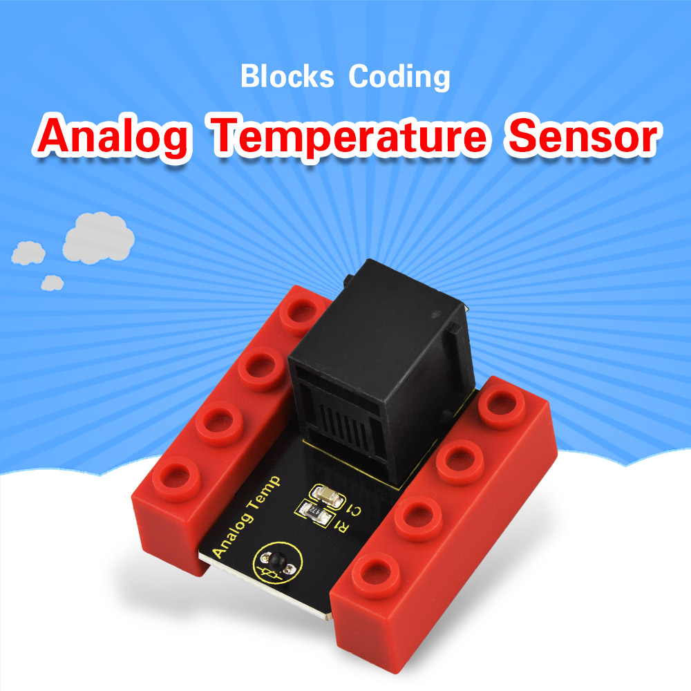 Kidsbits Blocks Coding Analog Temperature Sensor Module For Arduino STEAM EDU (Black And Eco Friendly)