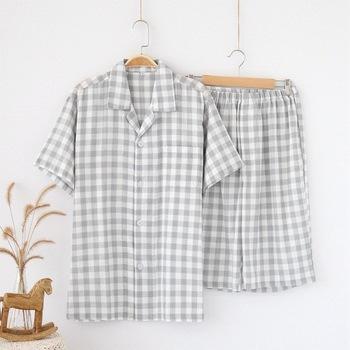 Lato męska koszulka z krótkim rękawem spodnie piżamy zestaw ubrania na co dzień w domu bawełna mężczyźni bielizna nocna piżamy krótki dla mężczyzn bts piżamy tanie i dobre opinie Plaid COTTON Skręcić w dół kołnierz Przycisk Elastyczny pas Koszula rękaw