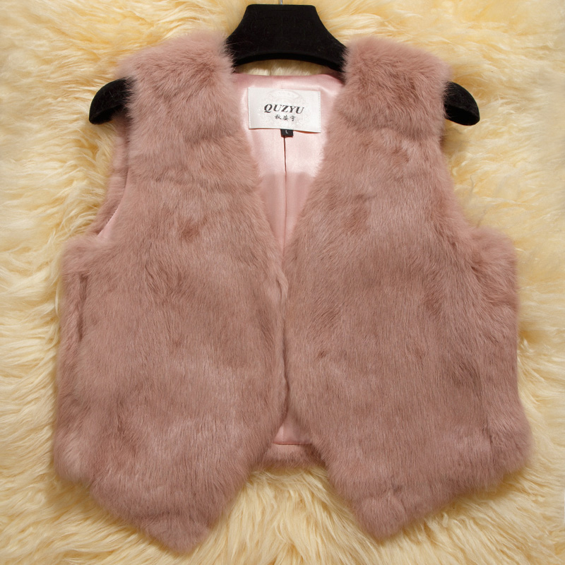 2016 Luxury Genuine Rabbit Fur Vest Waistcoat Autumn Winter Women Fur Gilet Lady Outerwear Coats Clothing