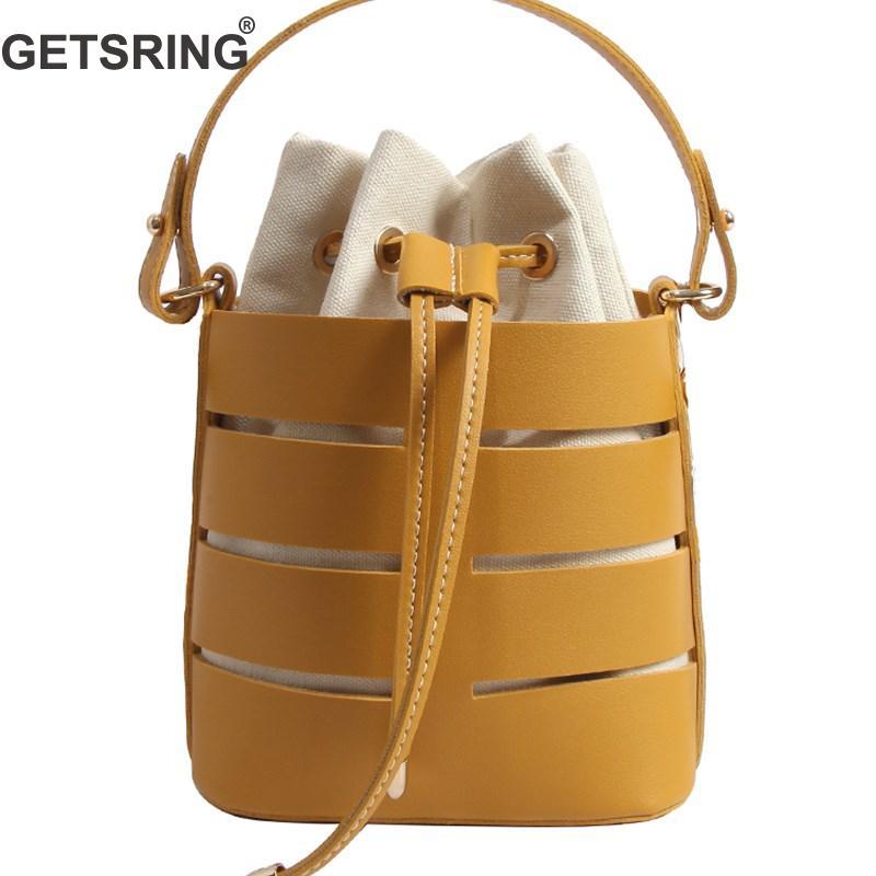 GETSRING Woman Bag Women Handbag Shoulder Bags Messenger Bags For Women 2018 New Drawstring Hollow Bucket