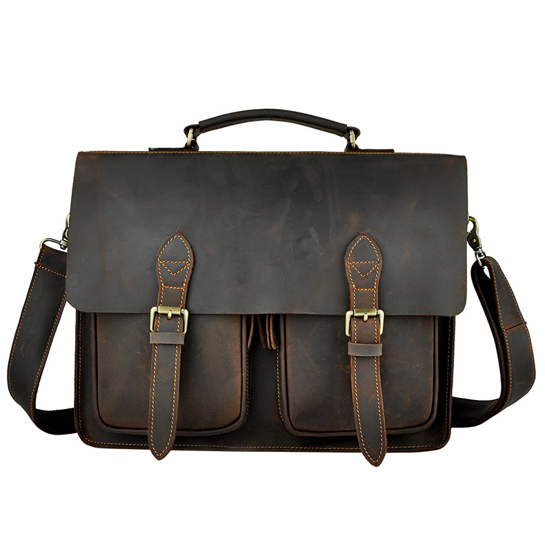 High Quality Cattle 2013 vintage handmade crazy horse leather british style handbag cross body commercial briefcase