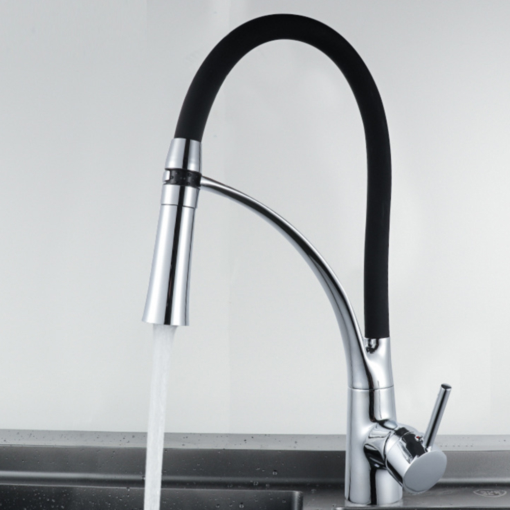 Faucet Led Practical Plated Pull out Cold Hot Water Spray Durable Kitchen Sink Home Switch Easy
