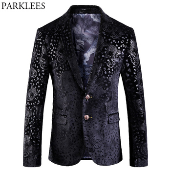 Mens Punk Style Leopard Print Blazer Jacket High Quality Fitness Two Button Suit Coats Singer Hipster Hip Hop Costumes Homme 5XL