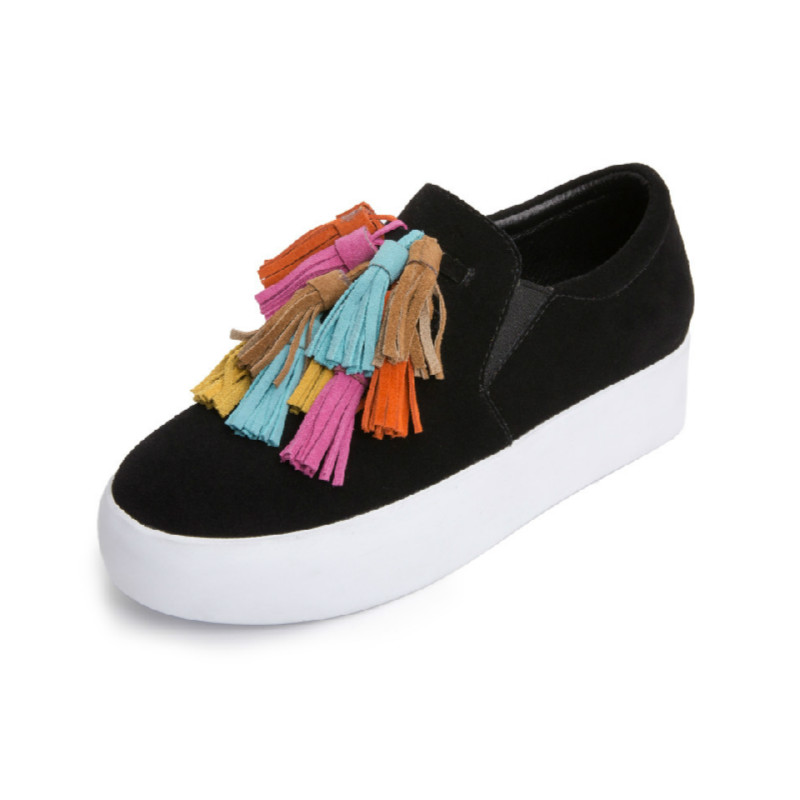 ФОТО Casual 2017 New Genuine Leather Round Toe Colorful Tassel Fringe Flat Thick Bottom Women Loafer Shoes Korean Style