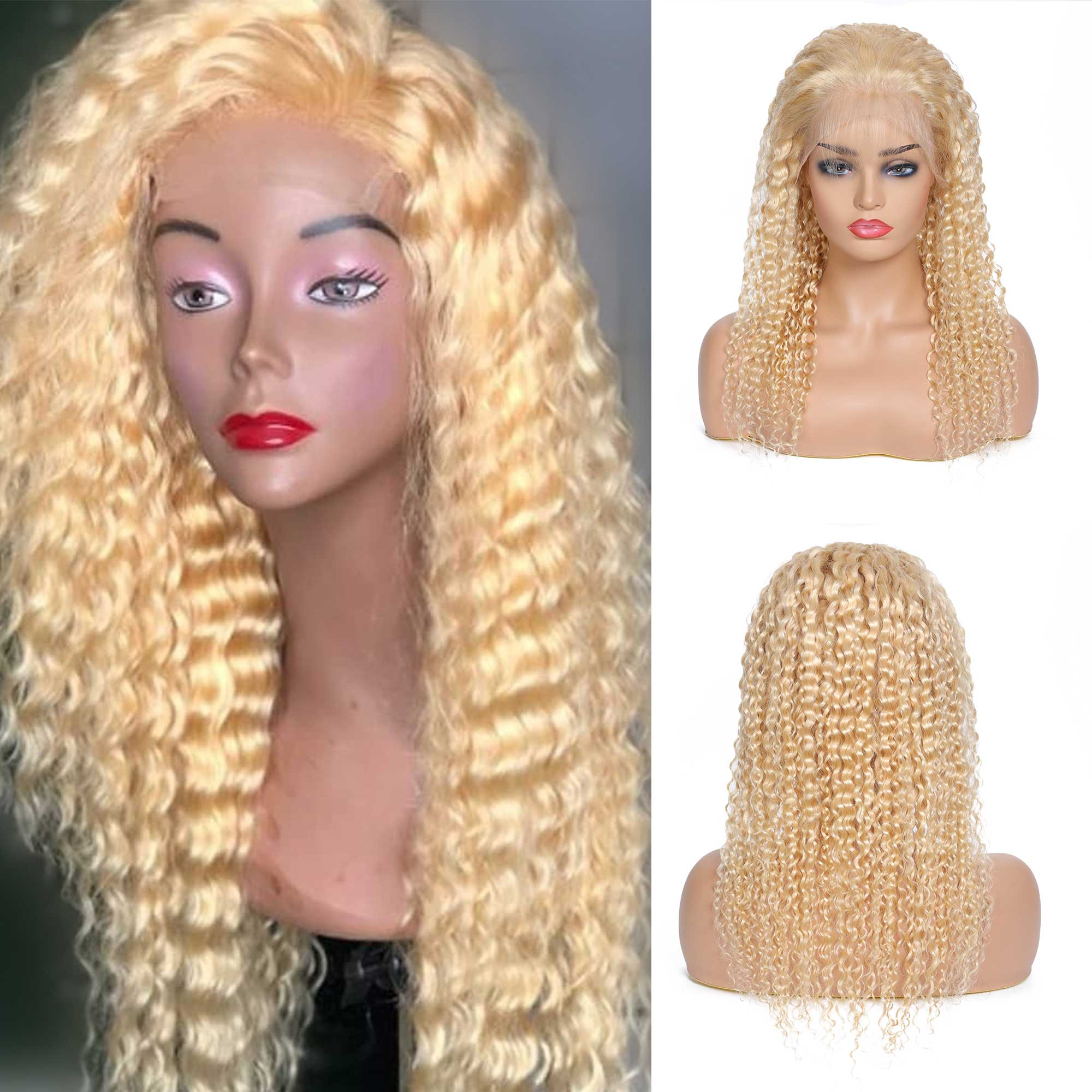 Sunber 613 Blonde Curly Lace Frontal Wigs 10 24 inch Brazilian Long Lace Front Human Remy