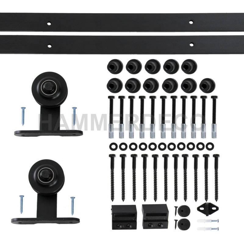 5 FT-16 FT Black Country Style Steel Sliding Barn Door Hardware Track Rail sliding barn wood closet door hardware джемпер qed london qed london qe001ewxzl63