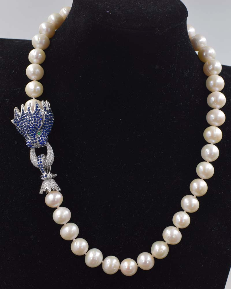 freshwater pearl white near round 11-12mm &blue green leopard clasp necklace 18inch FPPJ wholesale beads nature