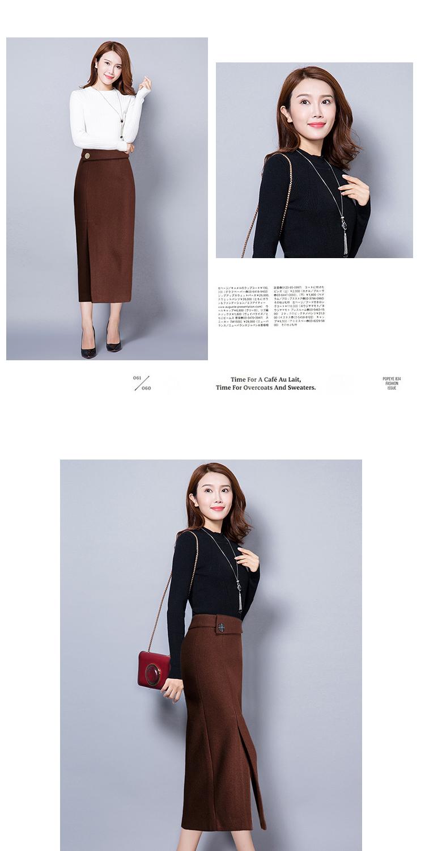 99874d1a7 Plus Size Dress Code Eo Casual Pencil Skirt Women's New Autumn Winter  Skirts Lady Knee-Length Longs Wool Midi Women's Dress