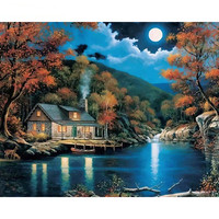 1Set Beautiful Night Landscape DIY Painting By Numbers Wall Art Picture Paint On Canvas Handpainted For