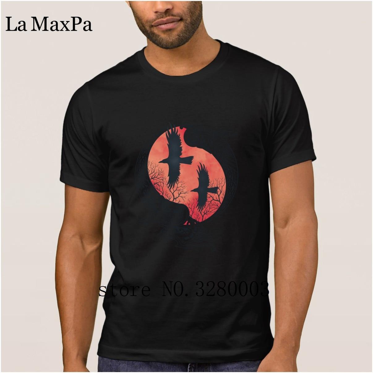 La Maxpa printed Humor men t shirt hugin munin Odin crow t-shirt man Spring  Autumn Letter tshirt for