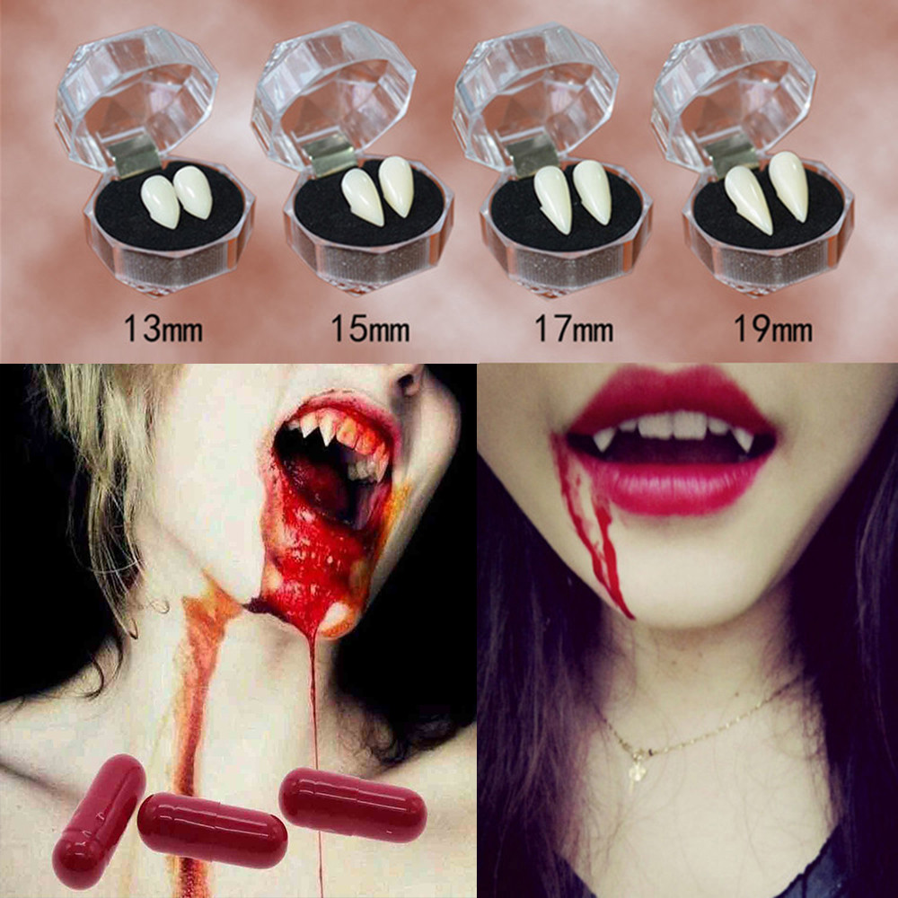 US $0 42 49% OFF 2pcs Cosplay Halloween Dentures Zombie Vampire Teeth Ghost  Devil Fangs Werewolf Teeth Box Packed Gift Props Costume Party-in Party