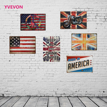 Flag Retro Iron Sign Country Tin Plaque Vintage Wall Letter Metal Plate American Style Board Bar Pub Lounge Display 20x30cm