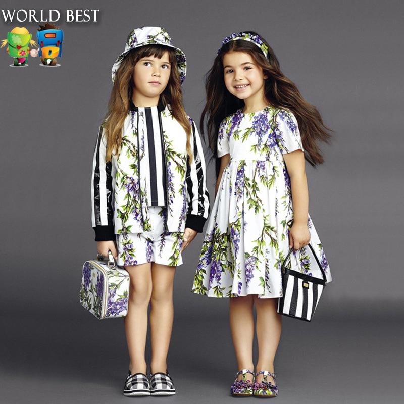 Girls Dresses Summer Tide Brand Girls Dresses Fashion Kids Dresses For Girls Short Sleeve Lilac Princess Summer Dress 2016