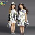 Vestidos de las muchachas del Verano 2016 Marea Marca Niñas Vestidos Moda Niños Vestidos Para Niñas Lila Princesa de Manga Corta Vestido de Verano 2016