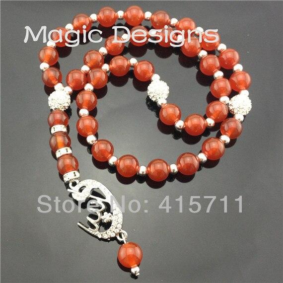 YH-PB38 5pcs/lot Camelian Silver Allah Pendant Islamic Prayer Beads Muslim 33beads Allah Misbaha Sibha