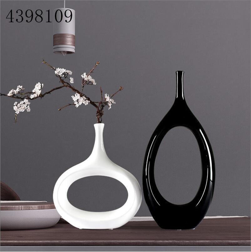 Classic black white ceramic vase set European minimalist vase container furnishings ceramic crafts dried flowers decorative