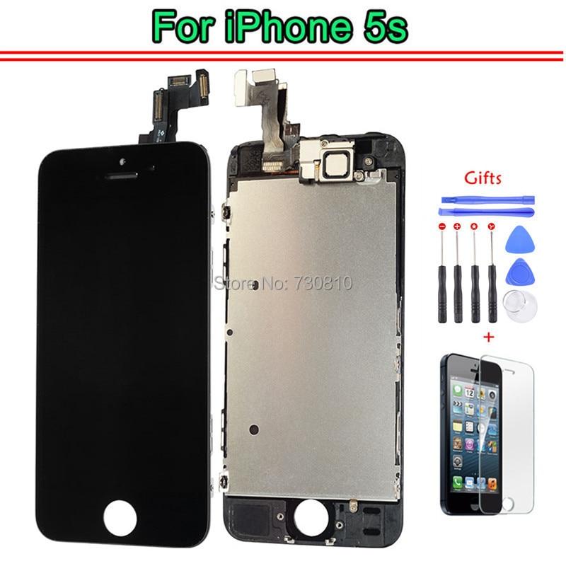 imágenes para AAA Calidad LCD Para iphone 5S sí LCD Pantalla Táctil Digitalizador Asamblea Frame + Cámara Frontal Del Altavoz/herramientas/regalo de Cristal