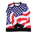 Casual Fashionable Men Male Long Sleeve Printed Hoodies Comfortable Flag Pattern Round Neck Shirts Tops 2016 Hot Sale