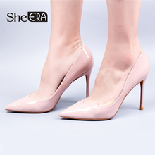 Купить с кэшбэком 2018 New Elegant Women Pumps Pointed Toe Patent Leather High Heel Shoes SheERA Sexy Party Wedding Thin Heel Women Shoes 6 8 10cm