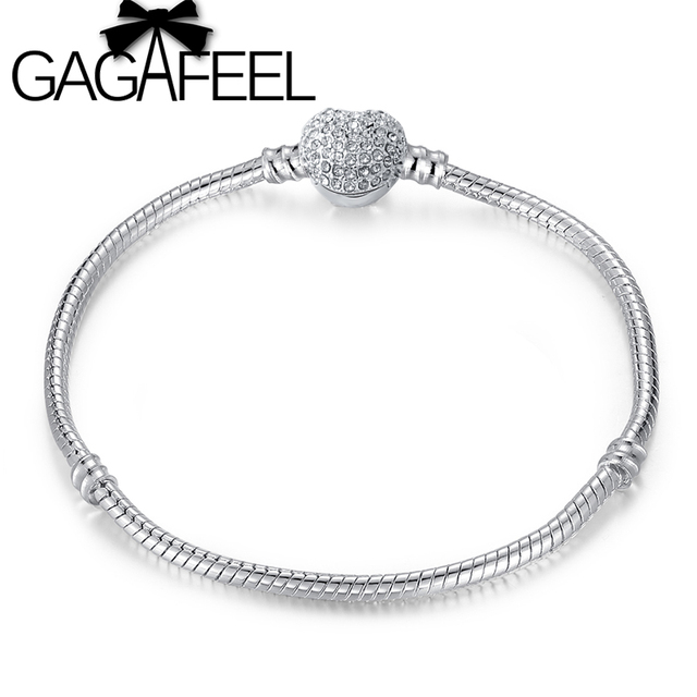 GAGAFEEL 16-20cm Handmade Heart Clasp Charm Bracelet Bangle fit for DIY European