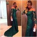 Moda 2015 sexy verde oscuro de noche de encaje sirena vestidos por encargo vestido do fiesta manga larga vestido de fiesta vestido formal