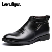 2017 Autumn Winter Brown Fashion Men Ankle Boots Casual Men Leather Chelsea Boots Breathable Slip On