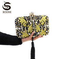 Luxurious Pearl Beads Diamonds Gold Embroidery Clutch Bridal Evening Bag Black Matte Wedding Handbag Chain Shoulder