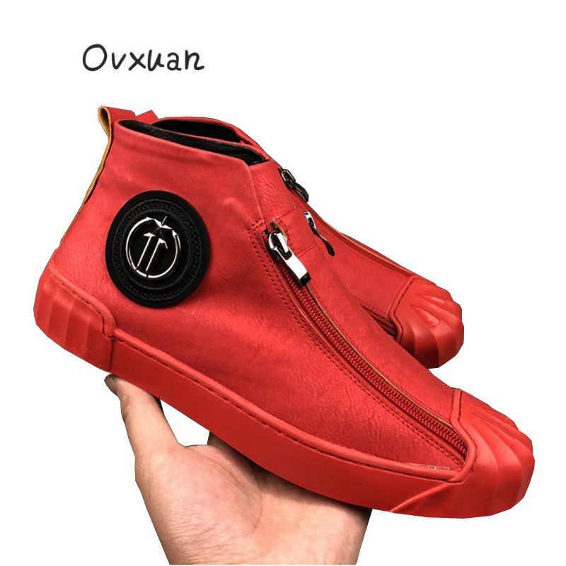 OVXUAN Metalen Gesp Zip Shell Cap Mode Top Hoge Sneakers Mannen Casual Schoenen Mode Mannelijke Straat Lopen Jurk Loafers Flats schoenen