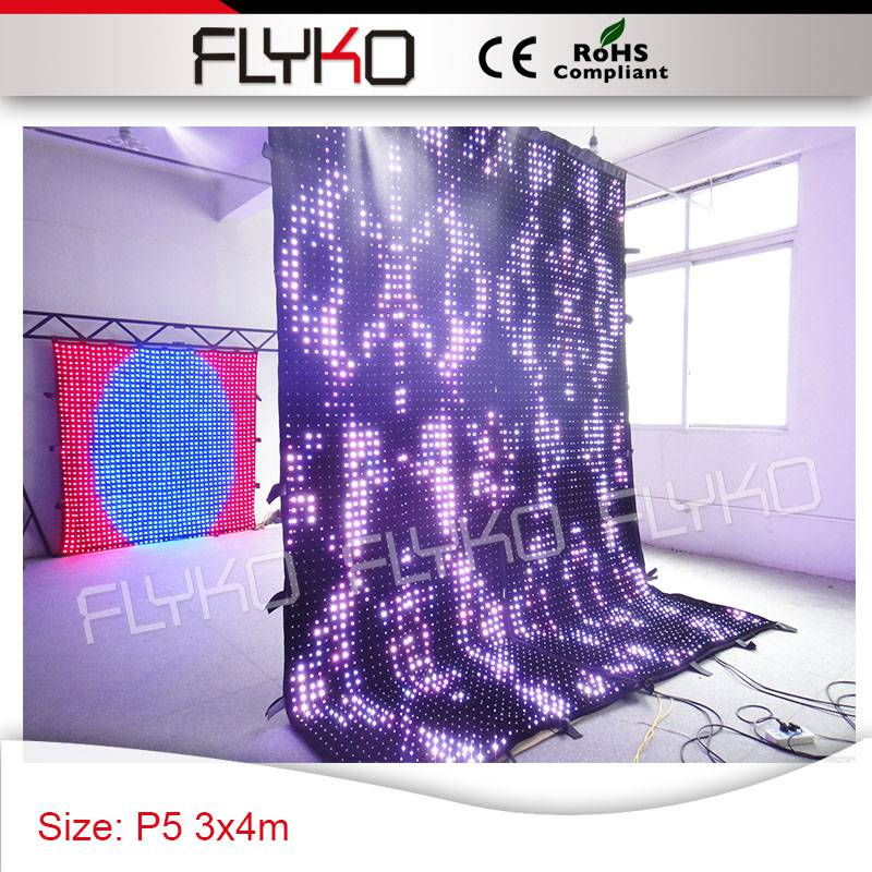 Pixel 50mm 4x3m led cloth innovative product led curtain dj decoration led lights curtain