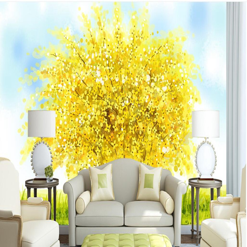 Custom Photo Wall Mural Wallpaper 3D Hand Painted Watercolor Wallpaper Yellow Tree Background Wall Murals Home Decor Wall Paper 3d photo custom wallpapers stereoscopic green rattan white tv wallpaper leaf wall mural wallpaper home decor wall paper