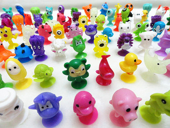 HOTSALE Mini Sucker Dolls Marine Land Strange Animal Cupule Suckers kids Action Toy Capsule Model Suction Cup Puppets 50 Pcs/lot