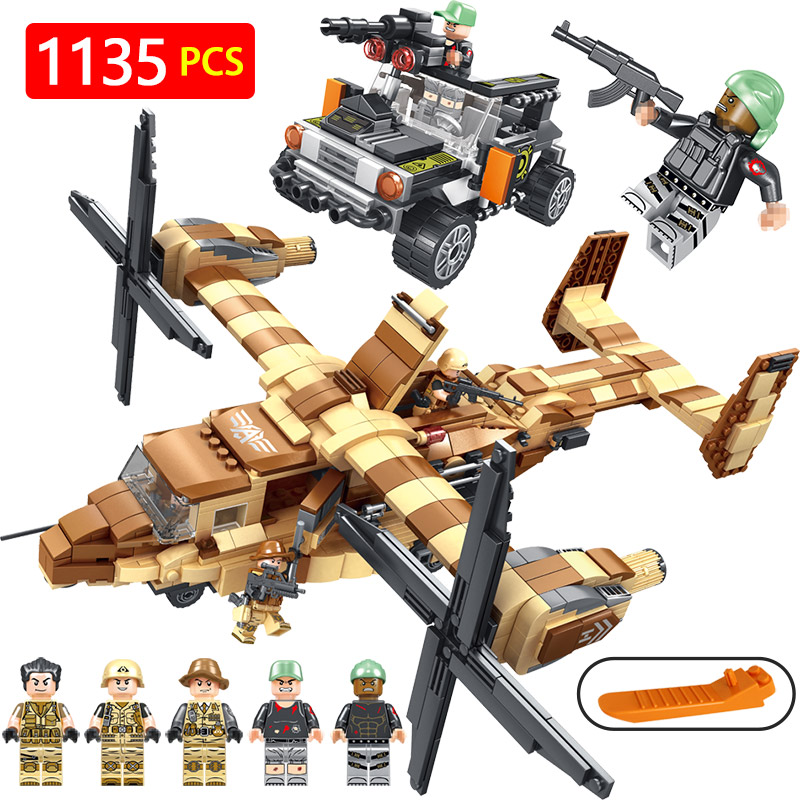 купить Technic Building Blocks LegoINGLYS Military Series Osprey Helicopter Modle Mini Action Figures Bricks Enlightening Toys недорого