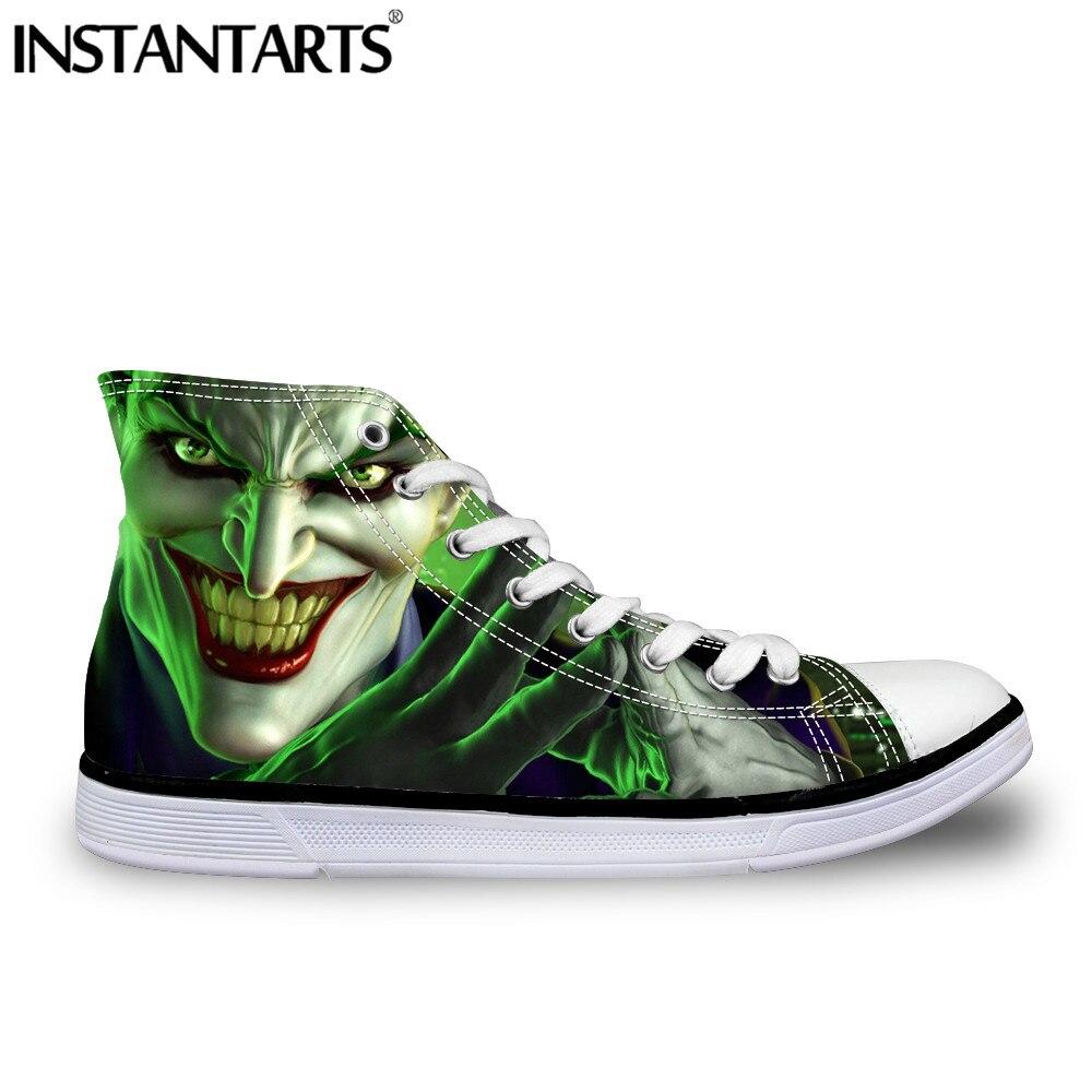 INSTANTARTS Men's Evil Clown Canvas Shoes Boy Casual Vulcanize Shoes Man Lace Up Shoes Crazy Funny Jack Print High Top Sneakers