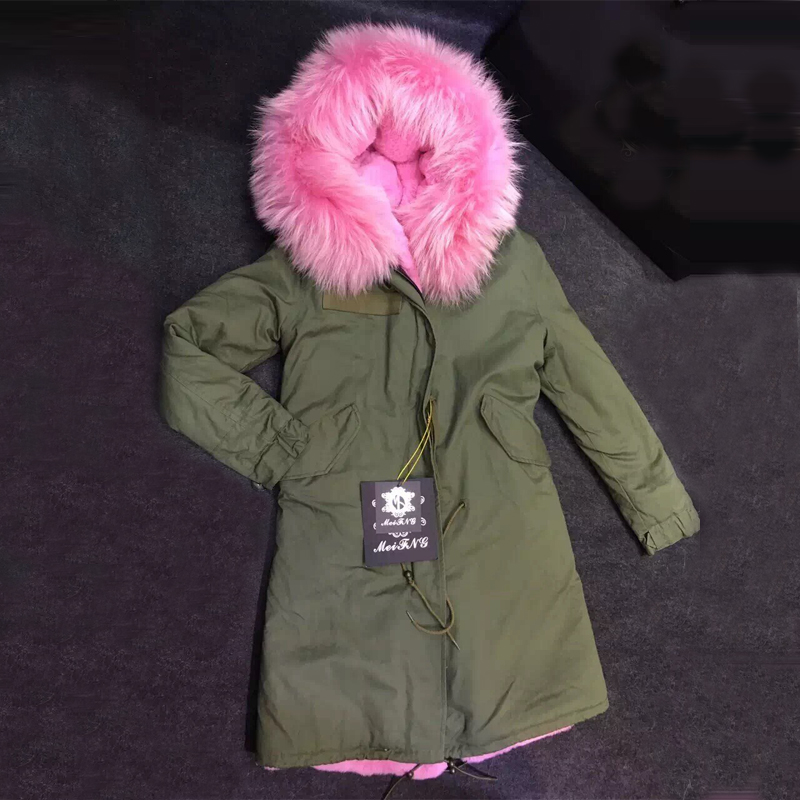 Fashion Winter Luxury big raccoon collar faux fur lining woman coat long