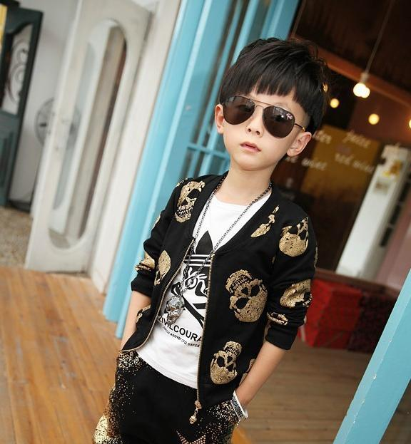 fashion boy coat+pants set cool gold skull style coat pants set for 2-8yrs boys male kid children causal clothes set hot sale coat
