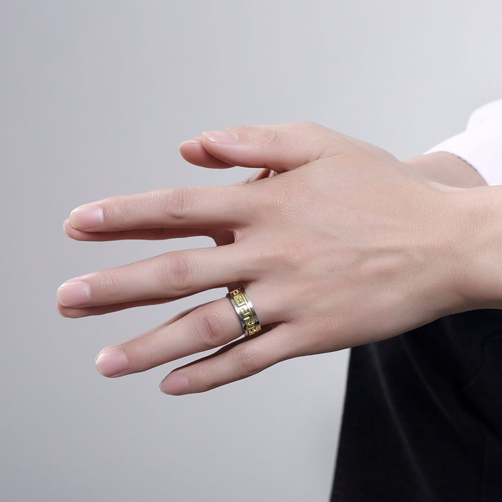 Engagement Rings Punk Design Gold Color Pattern Spinner 316L ...