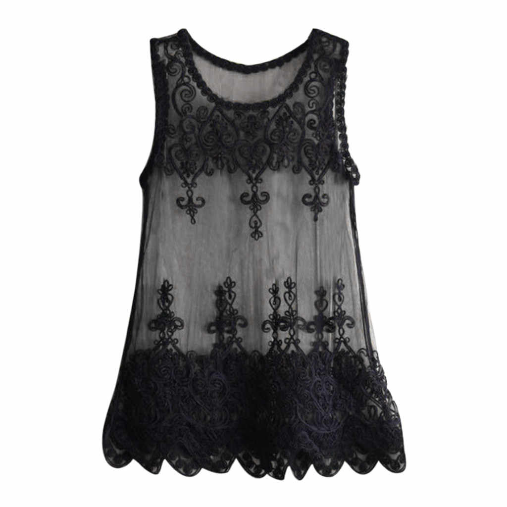 Vrouwen Kraag Vleermuis Mouw Overhemd Strand Badpak Blouse Cover-Up Losse Bloem Kant Tops Nieuwe Sexy Perspectief Tee Shirt