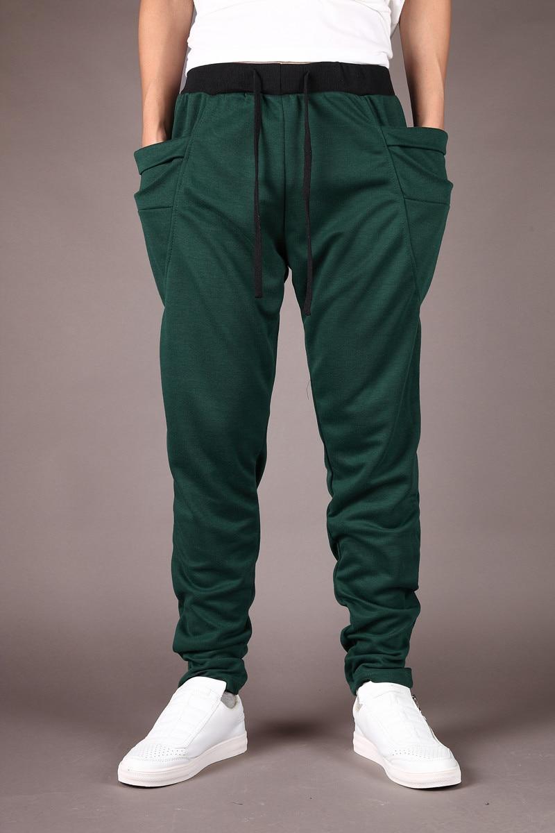 Штаны-шаровары Новые стильные модные повседневные обтягивающие спортивные штаны брюки с заниженным шаговым швом Мужские штаны для бега Sarouel - Цвет: dark green