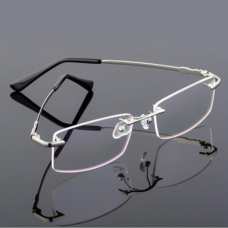 Lightweight Rimless Glasses Frame Metal Alloy Driving Eyeglasses Frames Men Square Myopia Optical Computer Glasses Frames 306
