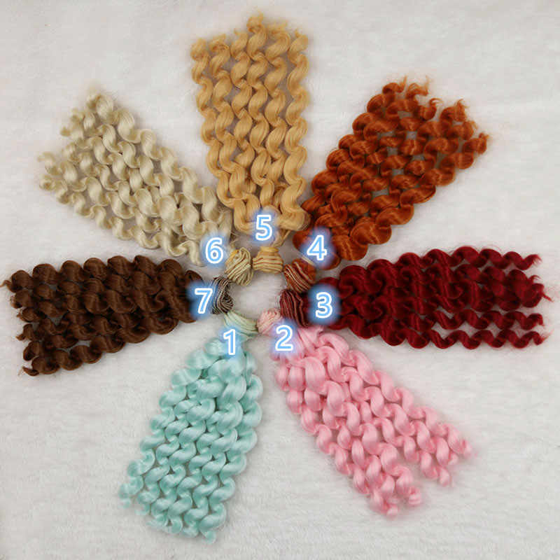 Pelucas para muñecas BJD SD DD Chole, 1 Uds. De 20cm * 100cm, pelucas de muñecas con cable de alta temperatura y 6 rollos de pelo ondulado rizado, accesorios para muñecas