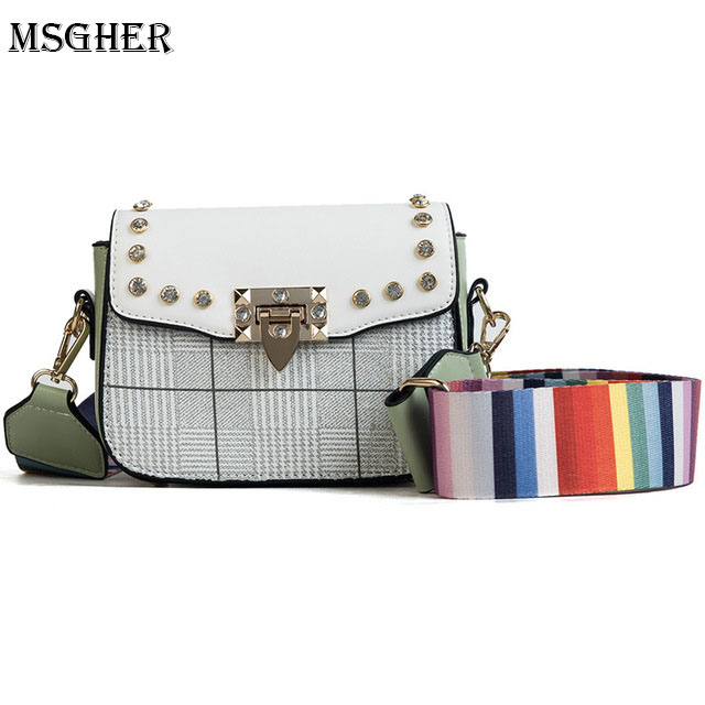 MSGHER PU Leather Women Crossbody Bags Summer Fashion Rivet Design Women Shoulder Bag Color Shoulder Strap Ladies Handbags WB638
