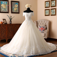 Dream Angel Short Sleeve Boat Neck Vintage Wedding Dresses 2018 Appliques Beaded Flowers Bride Dress Vestido