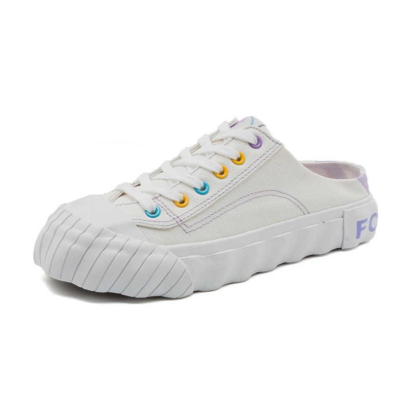 Kadın Tuval Terlik Bayan Slipons Mokasen Kızlar Tiki Tarzı 2019 Yeni Bayan Beyaz Ayakkabı Tembel Ayakkabı Lavanta rahat ayakkabılar