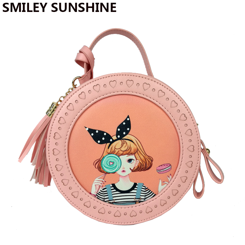 SMILEY SUNSHINE cute cartoon girl crossbody bag tassel mini women messenger bags flap pink lady zipper soilds small shoulder bag aim brand small shoulder bags for women luxury crossbody bags female solid flap bag girl mini black messenger bag tassel w022