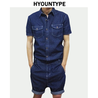 Summer Fashion Designed Denim Mens Rompers Single Breasted Jumpsuit Cargo Short Pants Boyfriend One piece Party Suits Overalls