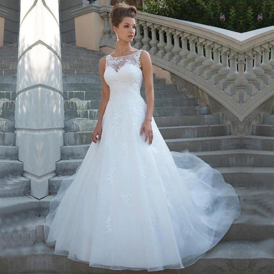 Elegant Scoop Neckline A-line Tulle Wedding Dress Lace Appliques Backless Boho Beach Bridal Gowns Sleeveless Vestido De Novia