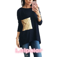 Nice brief T-Shirts Women's Asymmetric O Neck Long Bottoming Tunic T Shirts with Sequined Tshirts Top Plus Size Tee Top  LX101