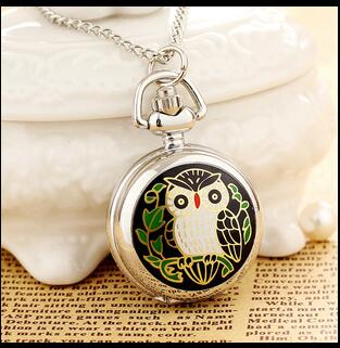 High Quality Vintage Classic New Silver Colorful Enamel Owl Pocket Watch Necklace With Chain PYJ52